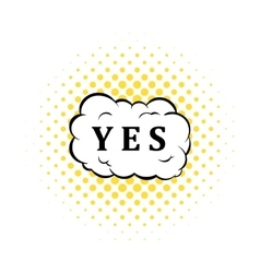 Yes in cloud icon comics style vector