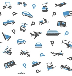 Seamless backdrop transport icons vector