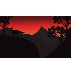 At sunset silhouette parasaurolophus in cliff vector image