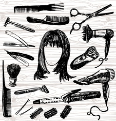 barbers stuff vector image