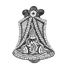Black and white hand drawn church bell vector