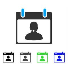 Call center manager calendar day flat icon vector
