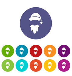 cap with pompon of santa claus and beard set icons vector image vector image