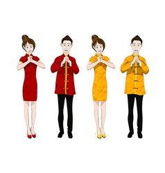 Chinese New Year People Greeting vector image vector image