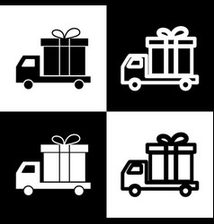 Delivery gift sign black and white icons vector