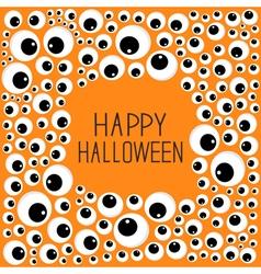 Eyes frame halloween card spooky orange background vector
