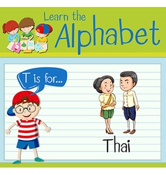 Flashcard letter T is for Thai vector image vector image