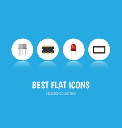 Flat icon device set of resist microprocessor vector