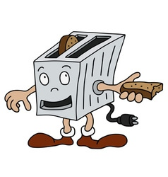 Funny small toaster vector image