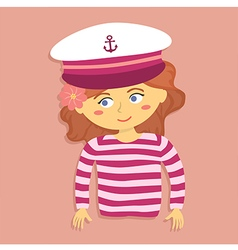 Girl with Captain Hat and Costume vector image