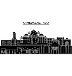 India ahmedabad architecture urban skyline with vector