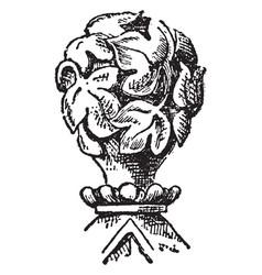 Leaf finial souvenir spoons vintage engraving vector