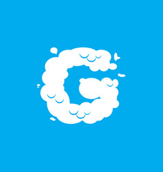 Letter g cloud font symbol white alphabet sign on vector