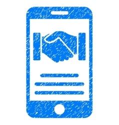 Mobile agreement handshake grainy texture icon vector
