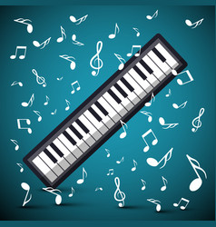 music background with notes and keyboard vector image vector image