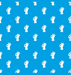 ok gesture pattern seamless blue vector image vector image