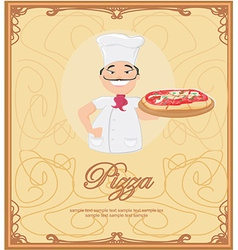 Pizza menu with chef template vector