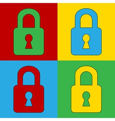 Pop art lock simbol icons vector