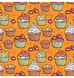 Seamless pattern with muffins and cherries vector image vector image