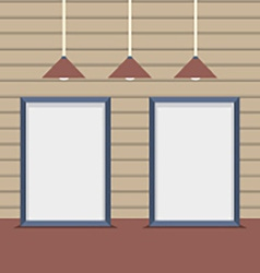 Set Blank Boards With Ceiling Lamps On Wooden Wall vector image vector image