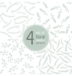 set of 4 floral seamless patterns 02 vector image
