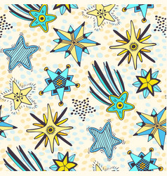 Stars seamless pattern abstract doodle background vector