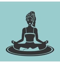 Symbol girl yoga lotus pose vector