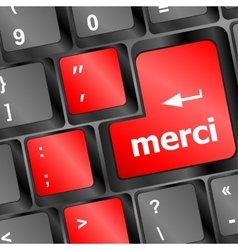 Thank you merci word on computer keyboard key vector
