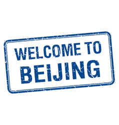 Welcome to beijing blue grunge square stamp vector