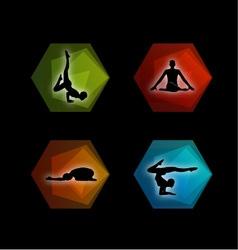 Yoga pilates set on geometric shapes vector