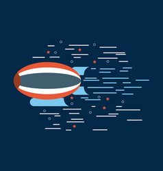 Zeppelin red white blue over navy background image vector
