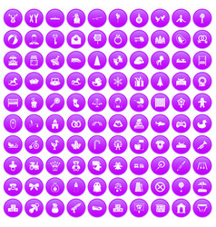 100 baby icons set purple vector