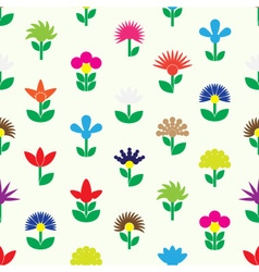 Colorful simple retro small flowers set of icons vector