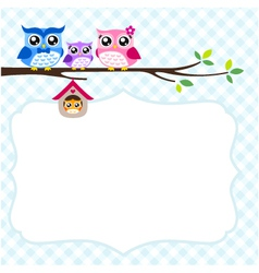 Owl family spring vector