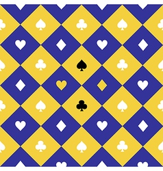 Card suits yellow blue chess board diamond vector