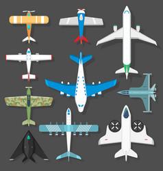 Aircraft different plains top view vector