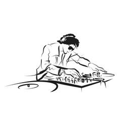 line sketch dj vector image