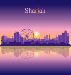 Sharjah silhouette on sunset background vector