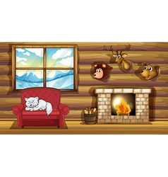A living room with stuffed animal head decors vector