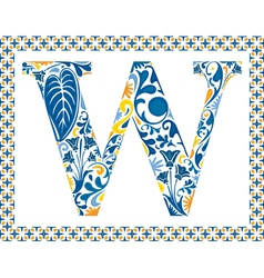 Blue letter w vector