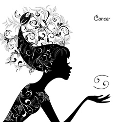 Zodiac sign cancer fashion girl vector