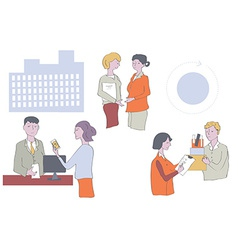 Business people at the office - work in groups vector