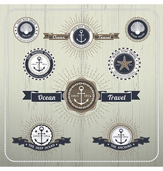 Nautical anchor travel labels with ray burst and vector