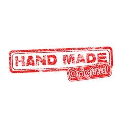 Hand made original red grunge rubber stamp vector