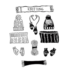A set of knitting hats and lic scarf and mittens vector