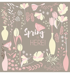 Floral spring card design with hand drawn flowers vector