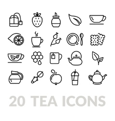 Collection of tea line icons vector