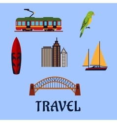 Australian travel and journey flat symbols vector