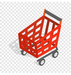 Basket on wheels for shopping isometric icon vector