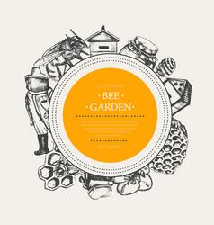 Bee garden - modern drawn round banner template vector